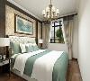 主卧室顶面是一圈石膏线,床头墙面有造型,床头是软包设计,床品白加绿色,看起来颜色很和谐。
