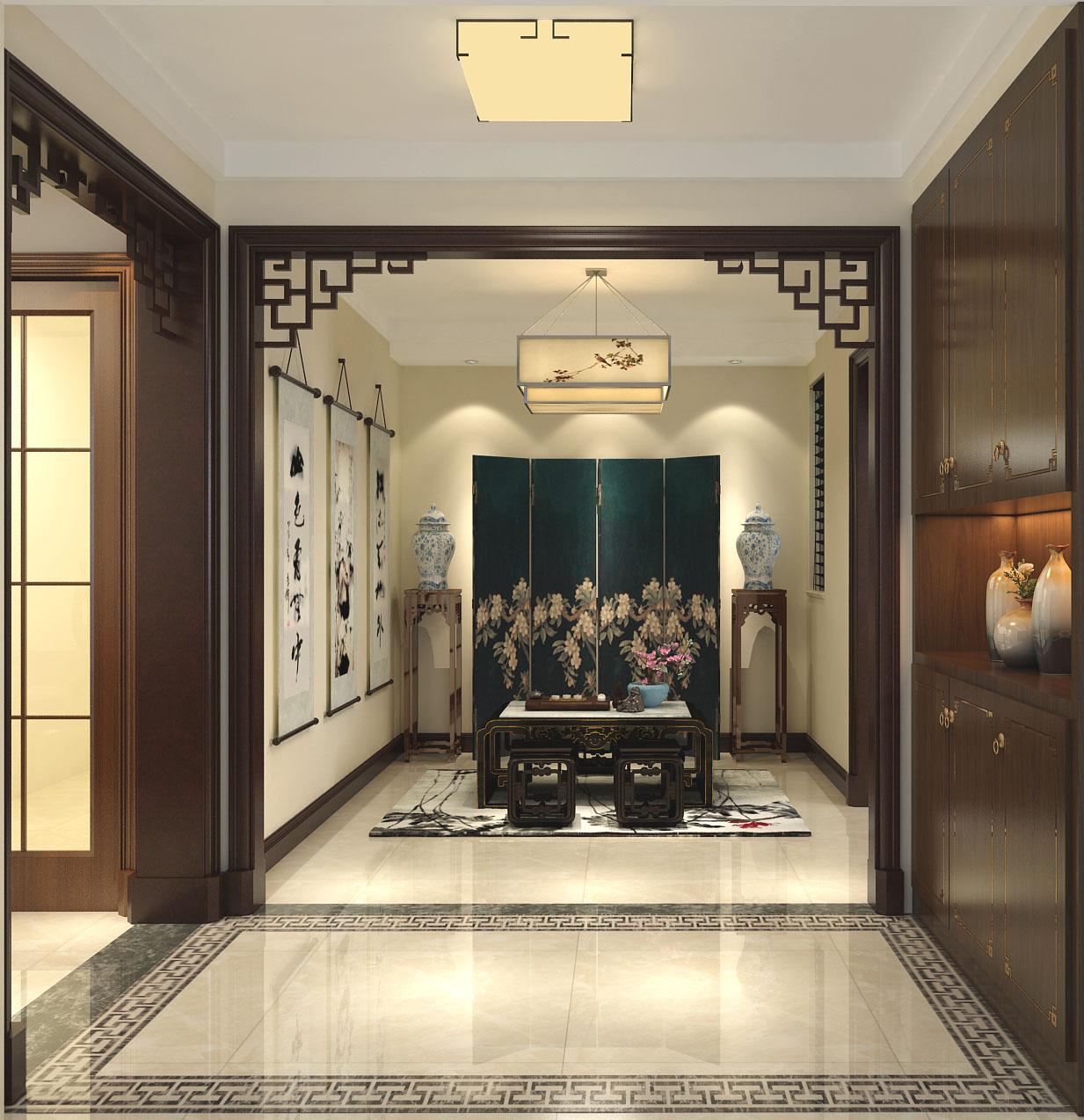 新中式 中式 混搭 三居 白领 收纳 80后 小资 玄关图片来自圣奇凯尚室内设计工作室在圣奇凯尚装饰-首开香溪郡新中式的分享