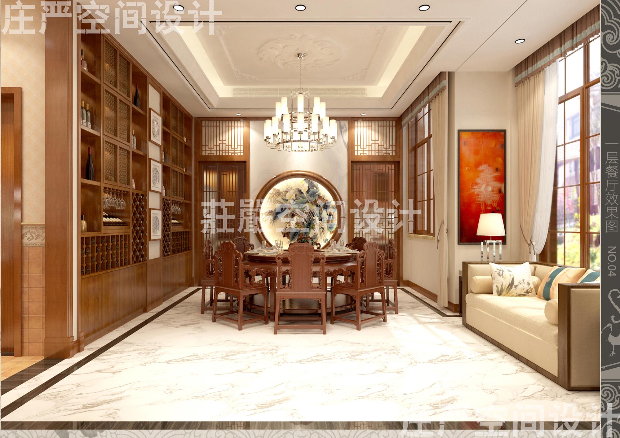 别墅 客厅 卧室 餐厅 新中式图片来自庄严空间设计在威海两岸金岭别墅的分享
