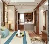 卧室是让人彻底放松纸突显柔和气质,简约舒适的新中式家具,精致的木线条,另外搭配的背景墙饰让人眼前一亮。