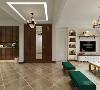 餐厅的餐桌椅和客厅的整体颜色相同,有统一性。侧面是定制衣帽柜,都是木色。厨房的橱柜门也是相同木色,墙面有腰线。主卧室顶面是一圈石膏线,床头墙面有造型,床头是软包设计,床品白加绿色,看起来颜色很和谐