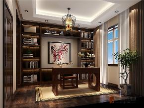 中式 别墅 复式 跃层 大户型 80后 小资 书房图片来自高度国际姚吉智在红杉溪谷300㎡新中式诗意栖居的分享
