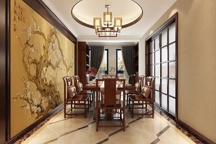 简约 餐厅图片来自阿布的小茅屋15034052435在保利香槟国际187平米--新中式的分享