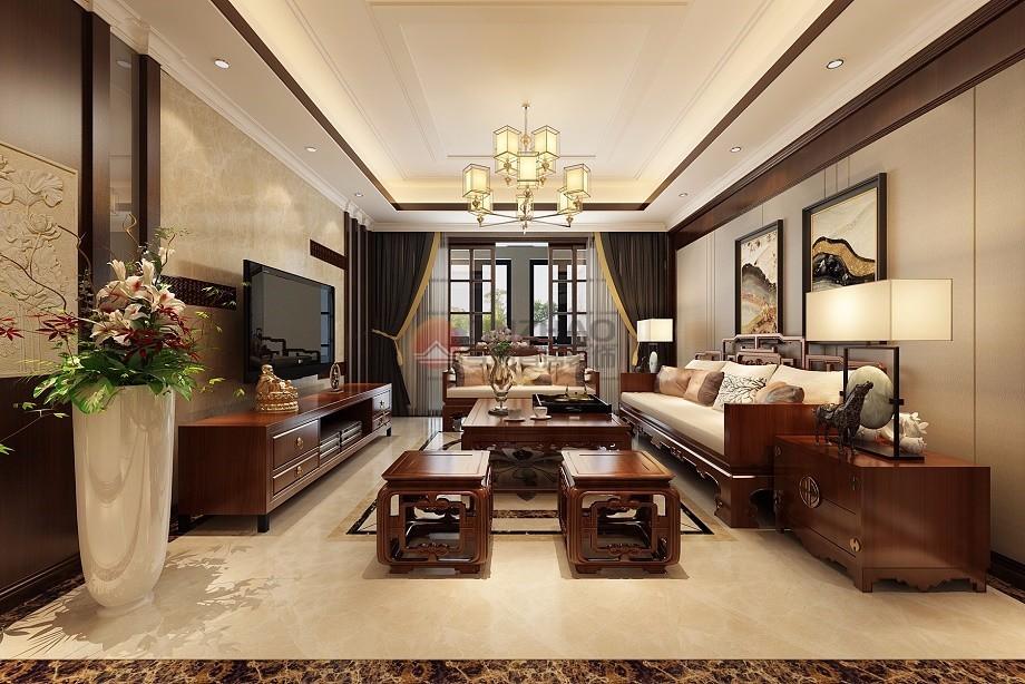 简约 客厅图片来自阿布的小茅屋15034052435在保利香槟国际187平米--新中式的分享