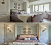 睡眠空间回归素雅的大地色系,透过蓝灰色系的床头墙,搭配金色边框鸟儿挂画,营造出精致典雅的视觉主题。