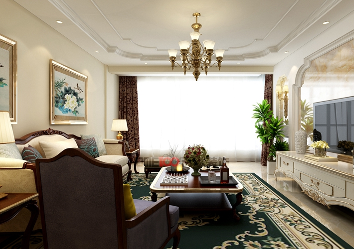 三居 城建东逸花 简欧风格 客厅图片来自百家设计小刘在城建东逸花园157平简欧风格的分享