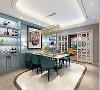 餐厅整个空间布局自然顺畅,色调以蓝灰为主。现代简约的餐桌,白色简洁淡雅,使餐厅营造出气定神清与豁然开朗的感受,餐桌旁特意设置了蓝灰色餐柜,增加了展示空间,而且使整个空间更有格调!