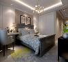 主卧室采用浅色地砖,黄色花纹图案地毯,床背景墙采用了竖条纹状的软包和两幅装饰画,简单而又充满设计感。