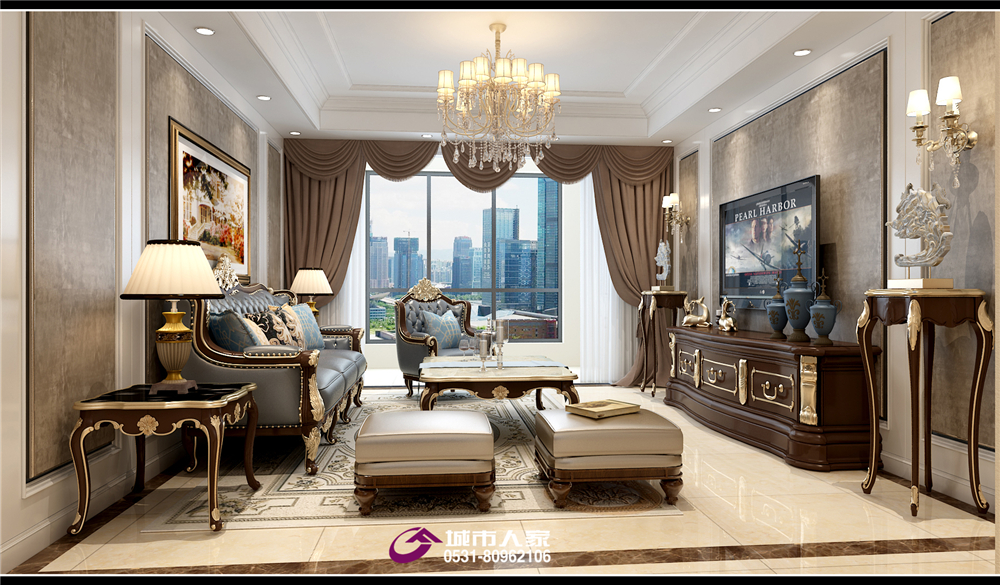 财富中心装 城市人家 客厅图片来自济南城市人家装修公司-在财富中心装修设计欧式风格效果图的分享