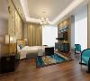 主卧的设计简约而又沉稳,统一的色调使整个空间的气息十分的温暖,蓝色的地毯和座椅不但没有破坏整个空间和谐的气氛,反而变成了这个房间的调色剂,让整个房间砍价来更加舒适了。