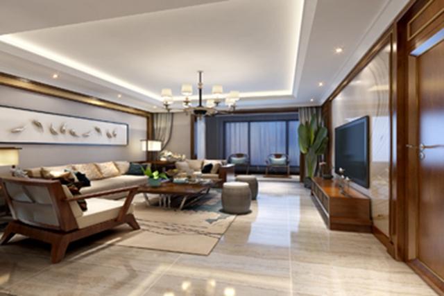 新中式 客厅图片来自峰光无限装饰大鹏在中建昆明澜庭160㎡新中式风格的分享