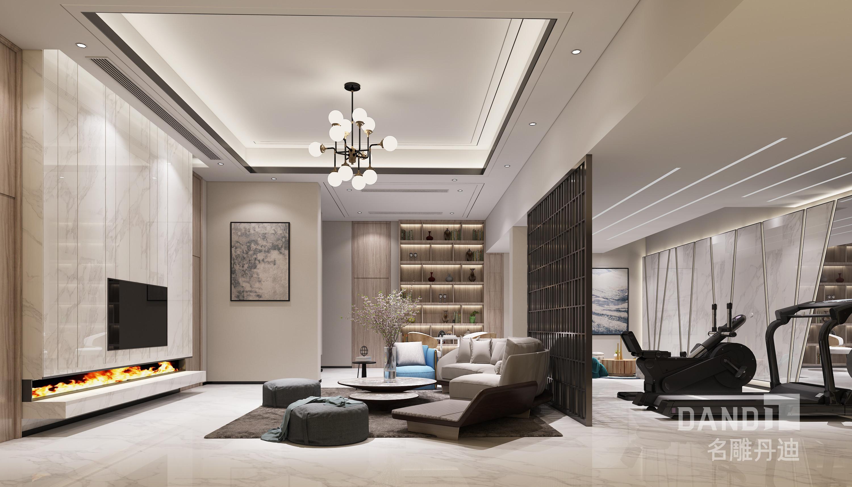 别墅 客厅图片来自名雕丹迪在御景水岸新中式风格600平米的分享