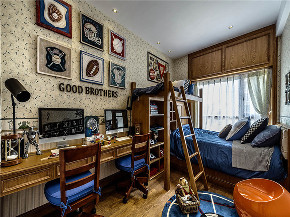 美式 三居 大户型 复式 跃层 80后 小资 儿童房图片来自高度国际姚吉智在156平米美式复古乡村自然古朴的分享