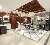 本案以美式新古典的设计格调,运用橱窗展示的设计手法,使用的材质有:木作、镜面、玻璃、钛合金属、大理石、木地板、通体砖、织物硬包、皮革硬软包、等材质打造而成。