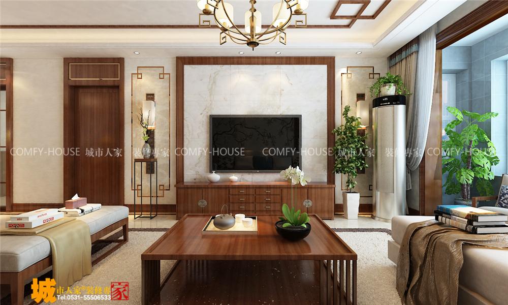 三居 客厅 卧室 餐厅图片来自济南城市人家装饰设计公司在财富中心127平新中式风格装修的分享
