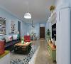 客厅作为待客区域,采用复古砖,使整体上有一种宽敞而富有历史气息。墙面顶面采用上下两种颜色,这样使视觉上具有层次感,色彩也更加丰富。