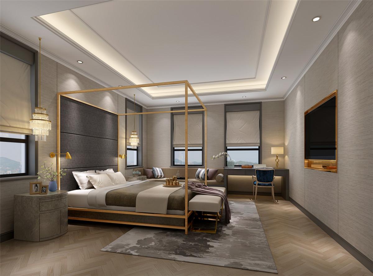 乔爱庄园 别墅装修 现代简约 腾龙设计 卧室图片来自室内设计师徐文在乔爱庄园600平独栋别墅装修设计的分享