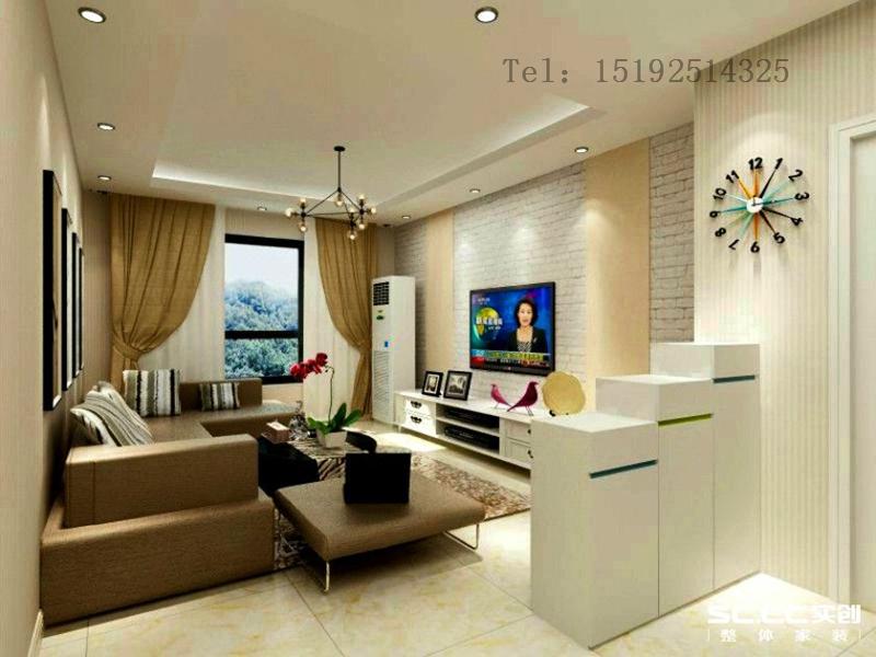 三居 都市果岭 现代简约 实创 青岛 装饰 客厅图片来自快乐彩在都市果岭128平三居室,清新明亮的分享