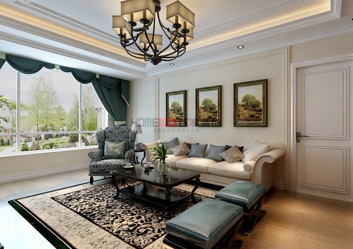 三居 客厅 餐厅图片来自百家装饰小西在克莱枫丹120平美式风格的分享