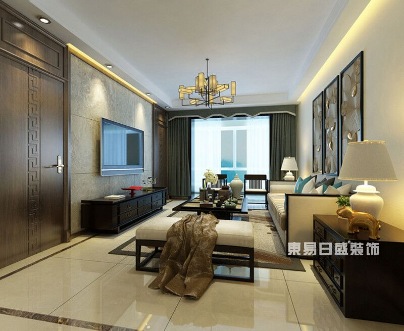 新中式 东易日盛 新房装修 装修 案例 客厅图片来自重庆东易日盛装饰在重庆鲁能星城+120平米新中式的分享