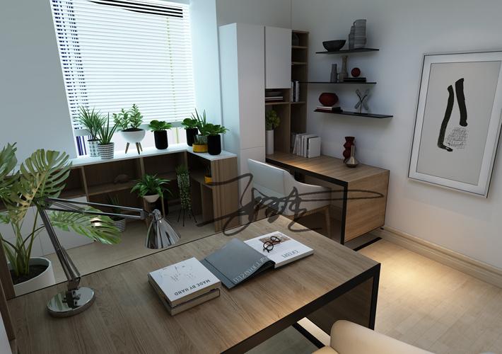 三居 茉莉公馆 现代风格 书房图片来自百家设计小刘在保利茉莉公馆104平现代简约风格的分享