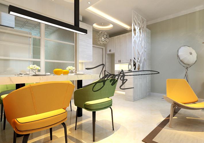二居 宏发英树 现代简约 餐厅图片来自百家设计小刘在宏发英树92平现代简约半包3.4万的分享