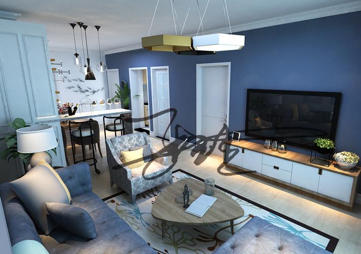 三居 茉莉公馆 现代风格 客厅图片来自百家设计小刘在保利茉莉公馆104平现代简约风格的分享