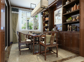 中式 新中式 三居 收纳 小资 餐厅图片来自阳光力天装饰在力天装饰-港西新城-150㎡-中式的分享