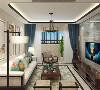 客厅的沙发背景墙并没有设计过多复杂的设计,考虑到美式的空间搭配。电视背景墙采用的是大理石背景墙,两边用黑木线包边。客厅顶面做的是回字形灯池吊顶四角采用弧形