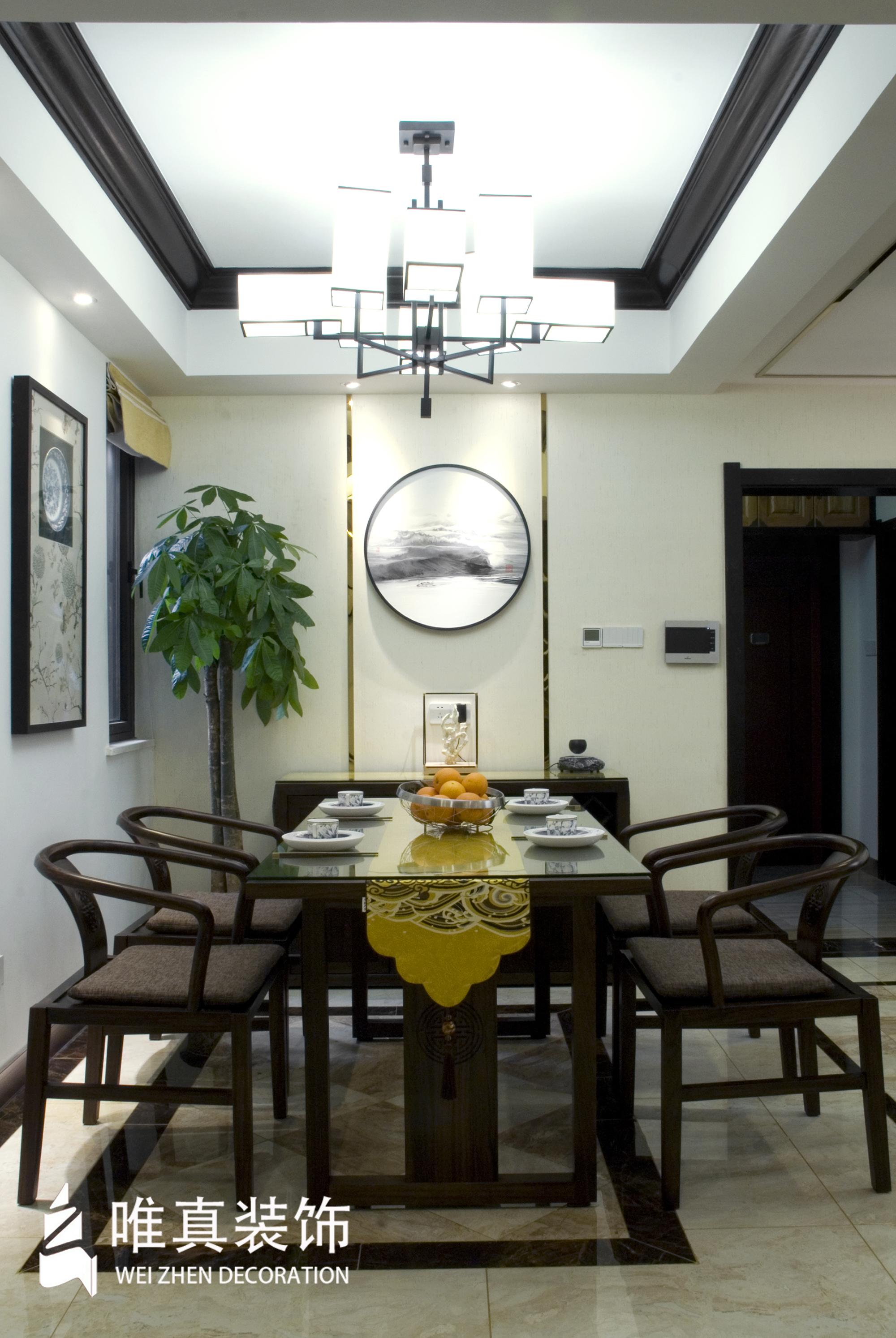 四居 中式 餐厅图片来自唯真装饰在大华南湖公园世家新中式风的分享