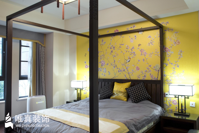 四居 中式 卧室图片来自唯真装饰在大华南湖公园世家新中式风的分享