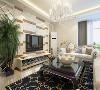 室内回字顶,突出层次。墙面采用暖色乳胶漆,营造温馨柔和的感觉。客厅白色的皮质沙发 ,柔软的抱枕,重色的地毯,使空间雅致、干净、大气,在温暖的的灯光下享受休憩的时光。