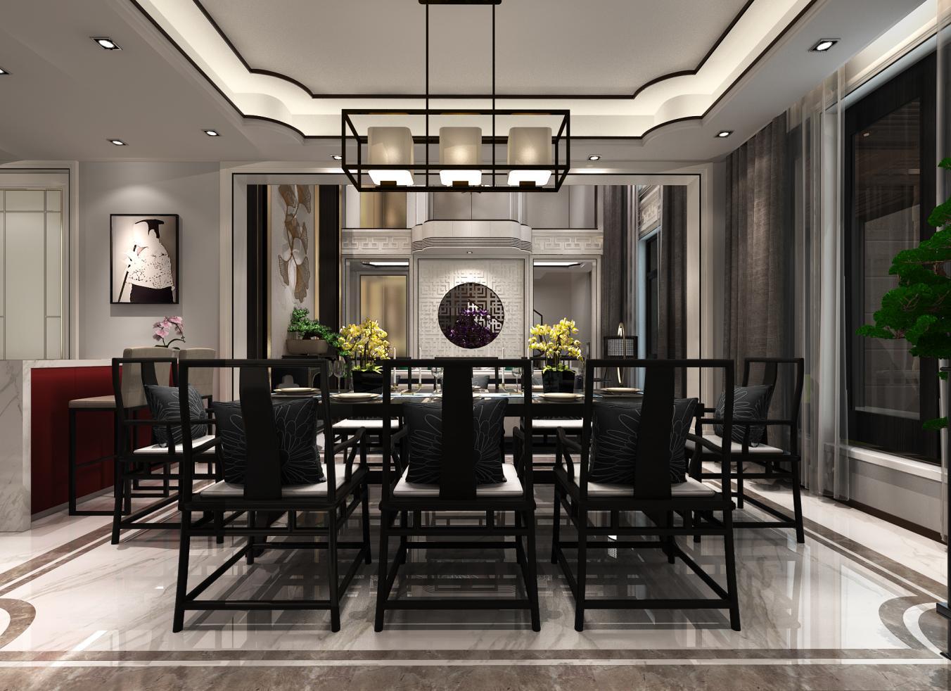 法兰西世家 别墅装修 新中式风格 腾龙设计 餐厅图片来自腾龙设计在沈韬作品 法兰西世家别墅装修的分享