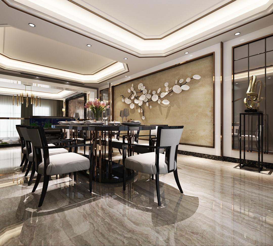 金地格林 白金院邸 别墅装修 新古典风格 腾龙设计 餐厅图片来自腾龙设计在金地格林白金院邸别墅设计项目的分享
