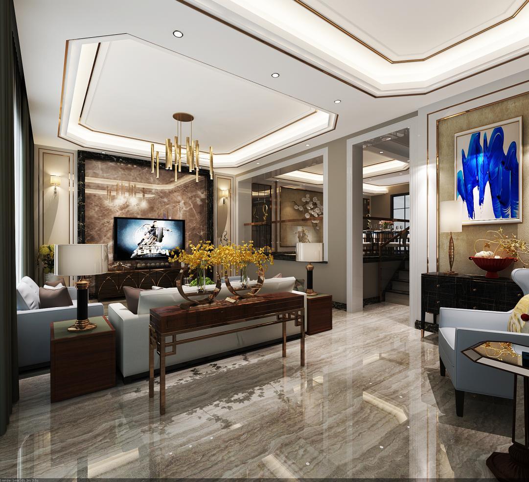 金地格林 白金院邸 别墅装修 新古典风格 腾龙设计 客厅图片来自腾龙设计在金地格林白金院邸别墅设计项目的分享