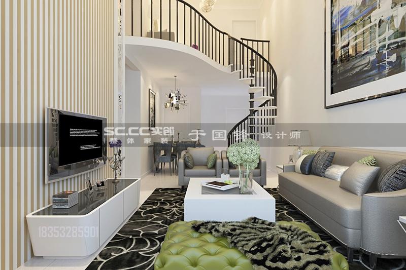 华胥美邦 复式装修 客厅图片来自实创装饰集团青岛公司在中铁华胥美邦135平复式装修设计的分享
