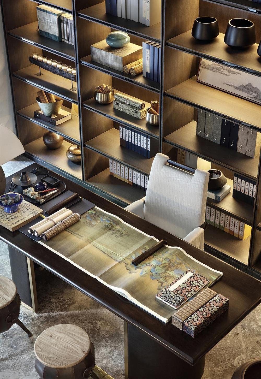 新中式 别墅 书房图片来自别墅设计师杨洋在唯美生活 现代中式之风的分享
