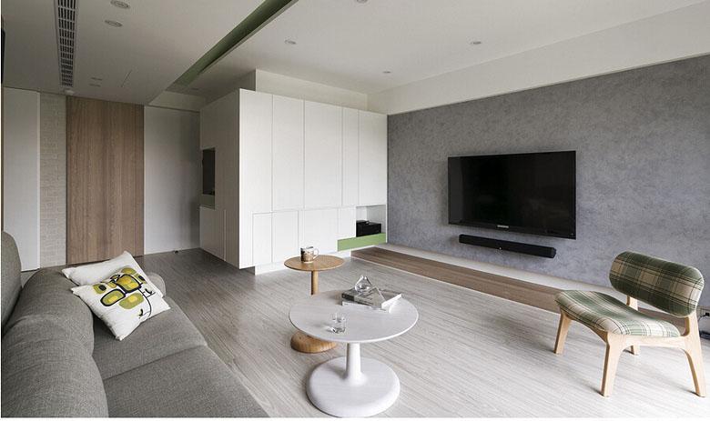 客厅图片来自家装大管家在庭院深深 109平现代简约舒适3居的分享
