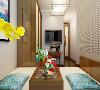 在老人房的设计中,采用纯中式的设计,用珠帘做隔断,使整个空间更加通透。