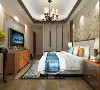 主卧室采用木色、白、黄、米等色彩元素搭配的床整体体现温馨的感觉,柔和的色调,不会显得混乱。