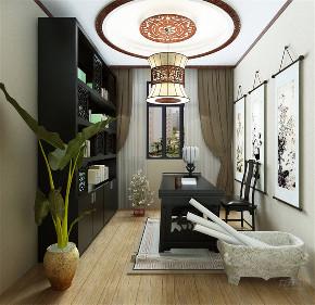 中式 二居 收纳 白领 小资 书房图片来自阳光力天装饰在力天装饰-天房天拖133㎡中式的分享