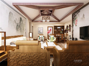 中式 四室 白领 收纳 80后 小资 客厅图片来自阳光放扉er在力天装饰万科假日风景新中式的分享