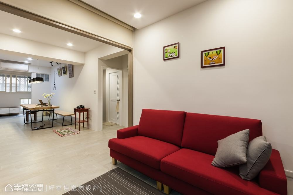二居 现代 客厅图片来自幸福空间在92平家与工作室的结合的分享