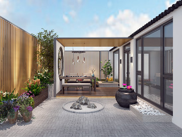 圣奇凯尚装饰—新中式院景