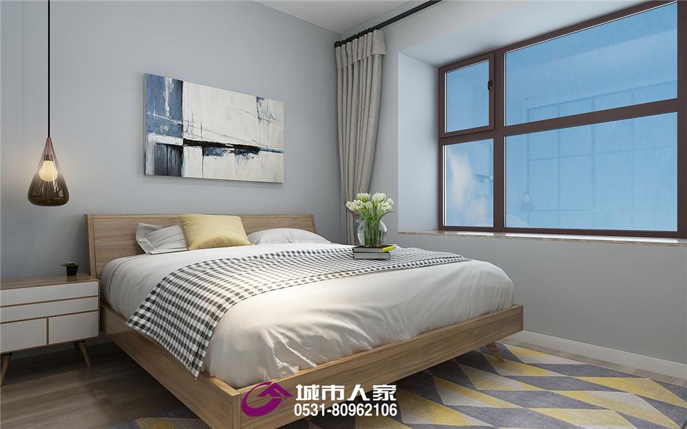 简约 梦世界 二居 卧室图片来自济南城市人家装修公司-在梦世界华园装修北欧风格装修案例的分享