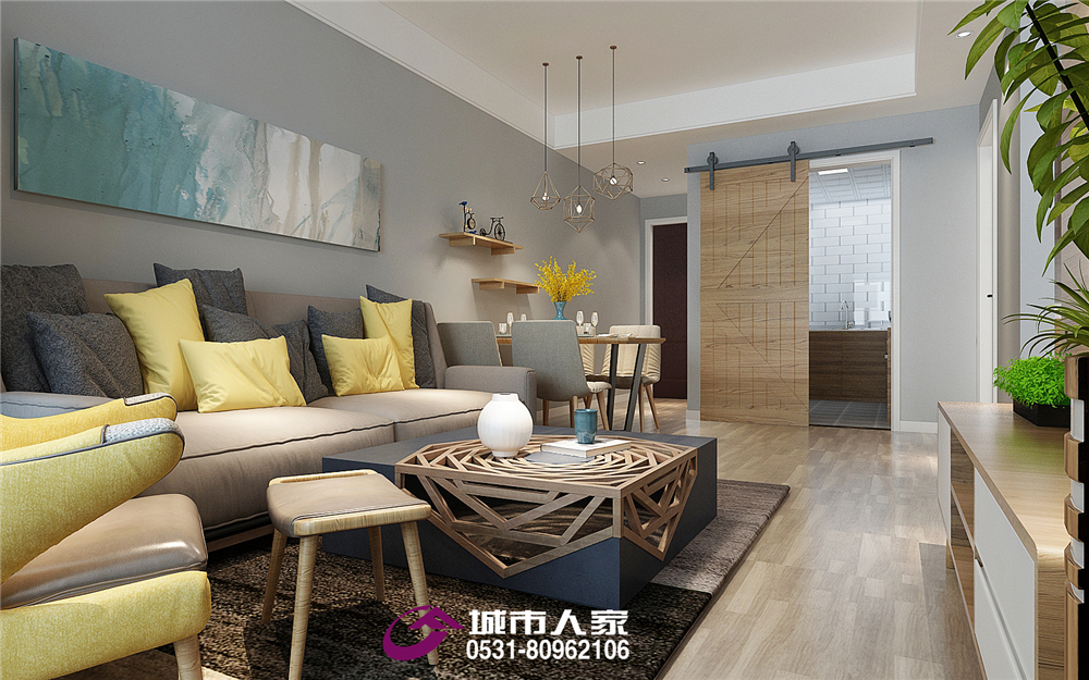 简约 梦世界 二居 客厅图片来自济南城市人家装修公司-在梦世界华园装修北欧风格装修案例的分享