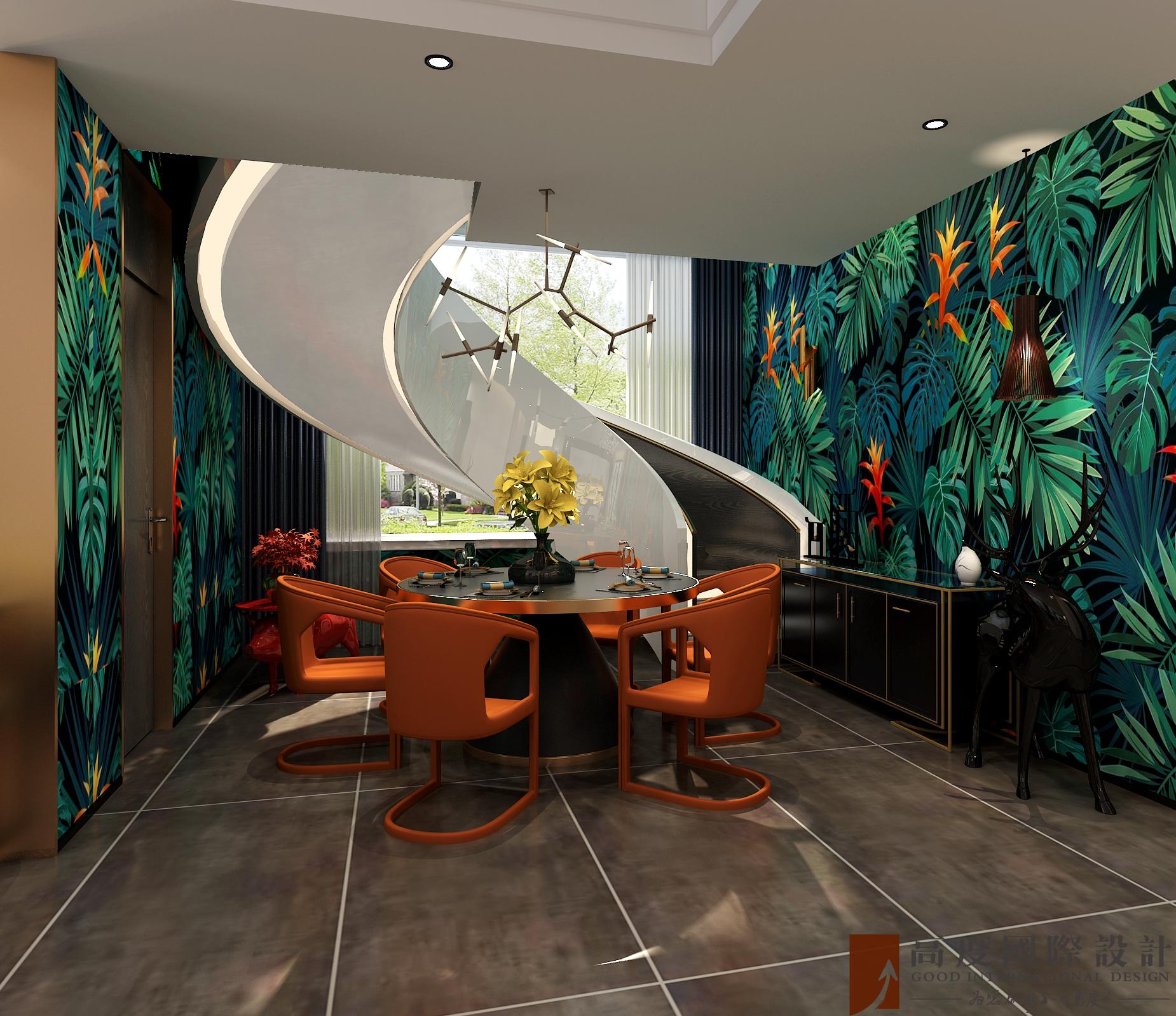 简约 复式 跃层 大户型 别墅 80后 小资 餐厅图片来自高度国际姚吉智在万城华府334平米复式当代简约的分享