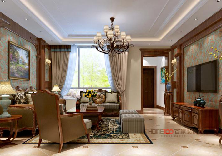 别墅 孔雀城 美式风格 客厅图片来自百家设计小刘在孔雀城300平美式风格半包14万的分享