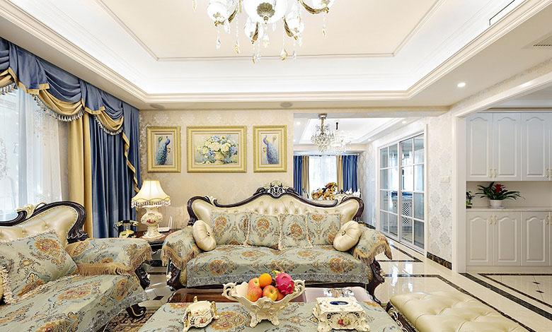 客厅图片来自家装大管家在温馨恬静 127平简约欧式混搭3居的分享