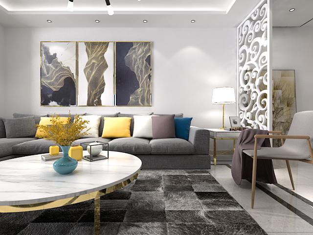客厅图片来自沈阳百家装饰小姜在美的城125平现代风格的分享